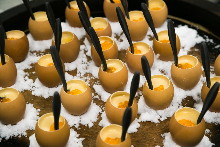 Sandalwood Smoked beef tartare, quail egg yolk